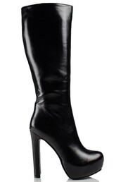 shoes,boots,daisy street,platform shoes,knee high boots,pu,leather,black,heel