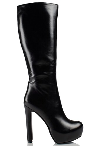 shoes boots daisy street platform shoes knee high boots pu leather black heel
