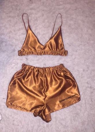shorts silk set bra pajamas sleepwear romper tank top gold silk lingerie set underwear gold bra set bralette