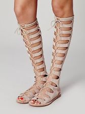 31ead602228 Womens Lace Up Roman Gladiator Sandals Hollow Out Knee High ...