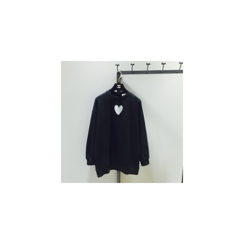 Oversized Hollow Out Scoop Neck Heart-shape Fall Long Sleeves Hoodie Essential T-shirt - Lafannie Fashion Shop