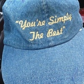hat,snapback,cap,quote on it,denim,blue,cute,tumblr,fashion,denim hat,denim cap