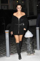 dress,off the shoulder,sweater dress,cardigan,all black everything,boots,nyfw 2017,ny fashion week 2017,streetstyle,model off-duty,mini dress,belt,bella hadid