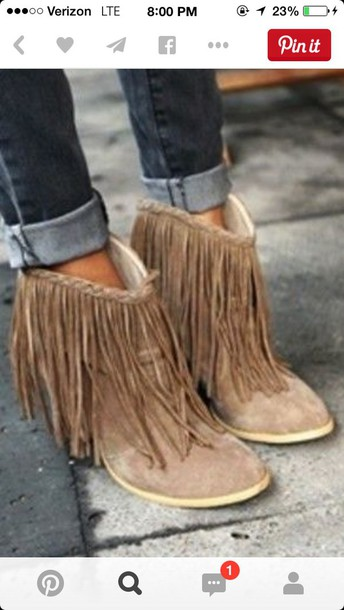 shoes nude suede fring bootiess