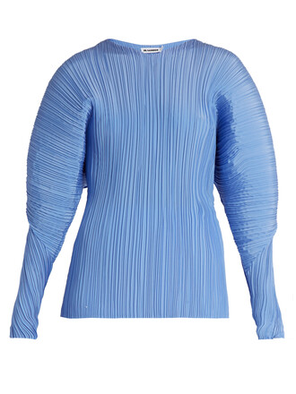 top pleated silk blue