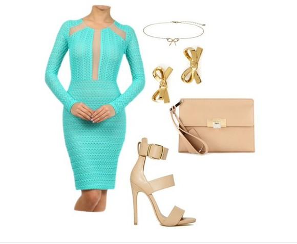 dress crochet fashion mint nude long sleeve dress midi dress shoes necklace earrings clutch