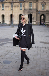 lisa rvd,blogger,jacket,sweater,shirt,bag,sunglasses,sports sweater,long sweater,black sweater,adidas,over the knee boots,over the knee,black coat,top