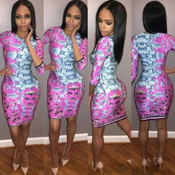 dress pink praisley print bodycon.  dress