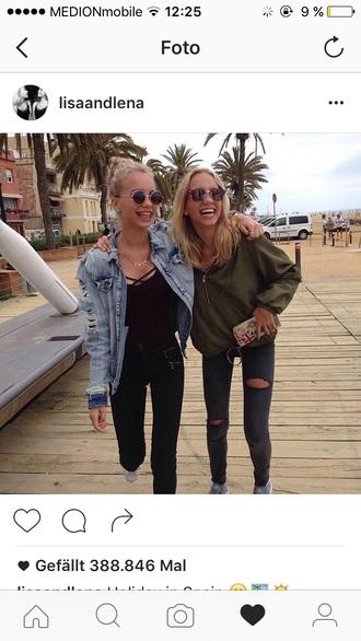 coat green jacket beach ripped jeans