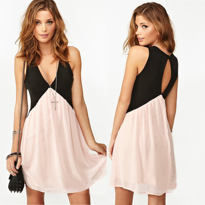 Trendy Girl Sexy Deep V-neck Stitching Back Hollow Chiffon Vest Dress Sleeveless Free Shipping 5848 | Amazing Shoes UK