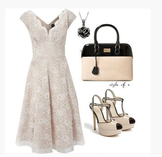 dress summer dress ivory dress casual dress lace dress floral pattern v neck cap sleeves empire waist heels high heels t-strap peep toe d'orsay platform t-strap peep toe d'orsay platform platform heels bag purse black and ivory necklace pendant