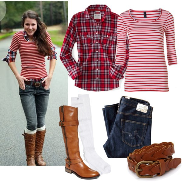 lace boot cuffs boot socks boots belt jeans fall outfits fall outfits striped shirt plaid shirt mismatched long sleeves casual socks brown leather boots shoes shirt
