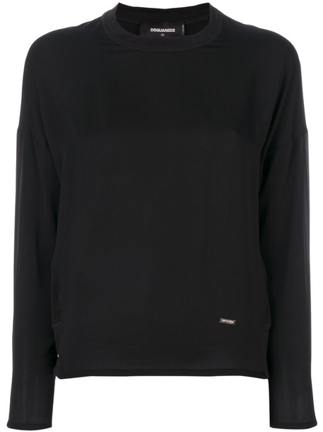 Dsquared2 - classic fitted blouse - women - Silk - 40, Black, Silk