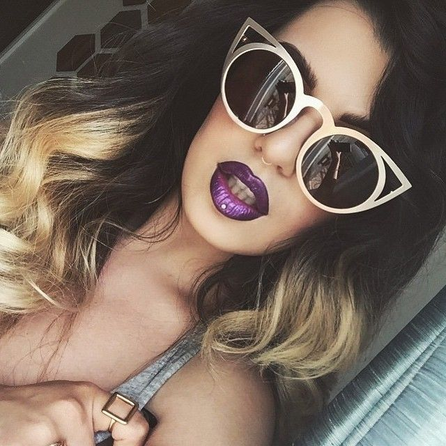 ef049c7a4 Cat Eye Round Cutout Trimmed Frames Style Women Sunglasses GOLD Metal