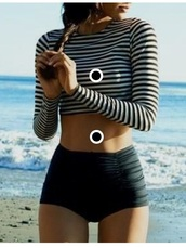 swimwear,stripped white and black,black high waisted bottoms,long sleeve crop top