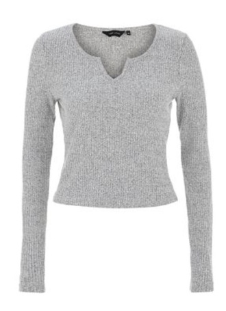top crop gry ribbed long sleeve