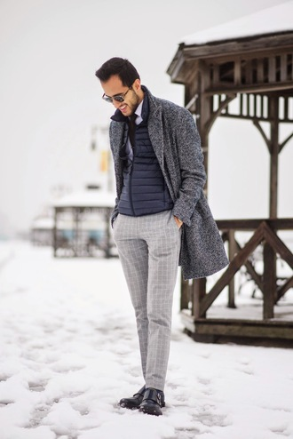 the metro man blogger grey coat down jacket menswear classy mens pants jacket pants shirt sunglasses mens pea coat
