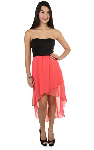 color block high low dress with criss cross back - 400003411764 ...