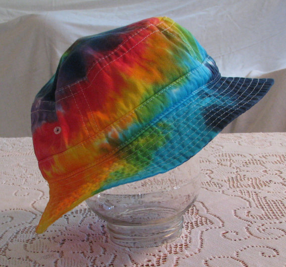 Tie Dye Adult Bucket Hat Rainbow by inspiringcolor on Etsy