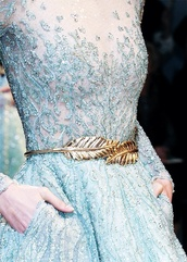dress,blue,blue dress,sheer,light blue,beaded,white,gold,frozen,aqua,sequins,embroidered,feathers,PLL Ice Ball,belt,metal feathers belt,metal gold waist belt,sparkle,long,crystal,pattern,beautiful,outfit,gorgeous