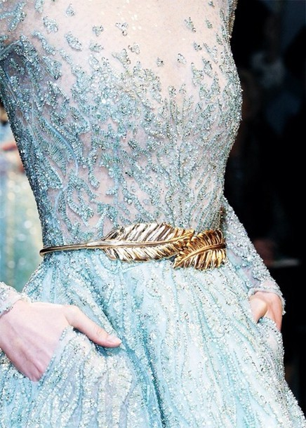 dress blue blue dress sheer light blue beaded white gold frozen aqua sequins embroidered feathers PLL Ice Ball belt metal feathers belt metal gold waist belt sparkle long crystal pattern sequins beautiful outfit gorgeous