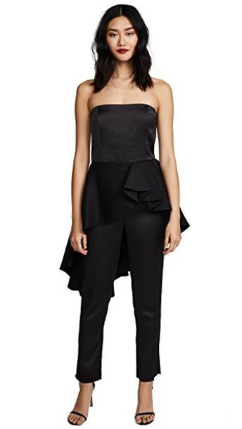 Halston Heritage jumpsuit strapless satin black