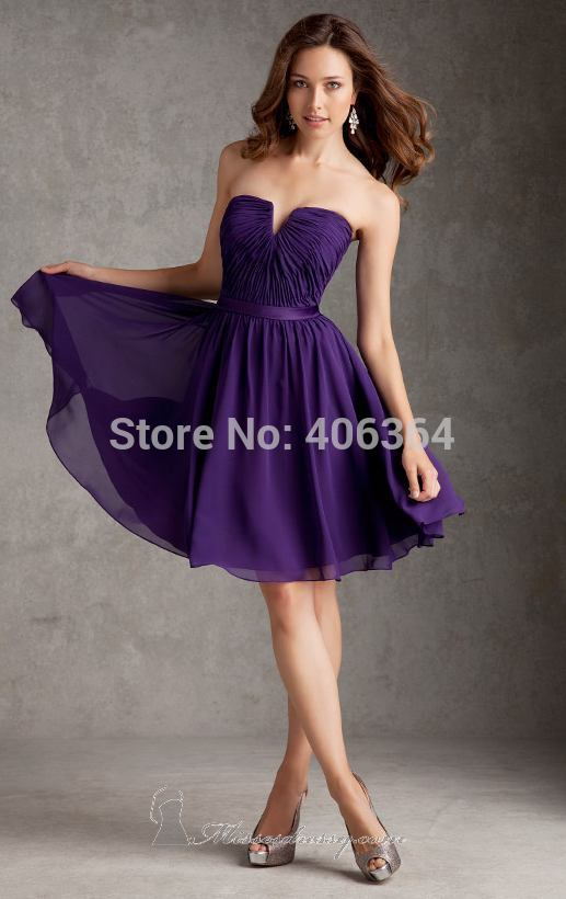 2014 new arrival purple short bridesmaid dress strapless knee length chiffon women dress for bridesmaid