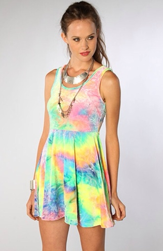 dress tie dye colorful skater dress skater