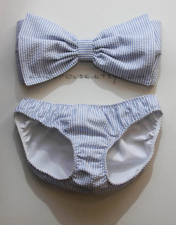 Seersucker bow bandeau and bikini by amourouse on etsy