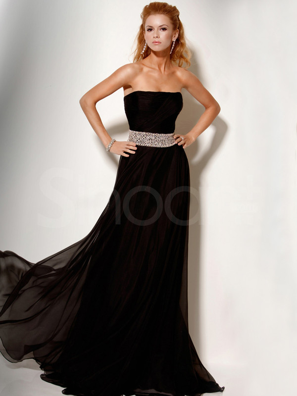 dress long strapless chiffon prom dress sleeveless and have sweep train beadings and sequins on the dress