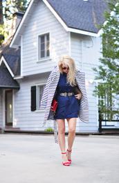 love maegan,blogger,belt,shoes,sunglasses,bag,blue dress,mini dress,red heels,sandals,red bag,clutch,high heel sandals,spring outfits,striped coat,belted dress