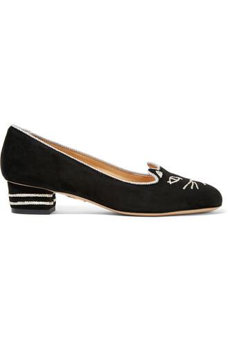 suede pumps embroidered pumps suede black shoes