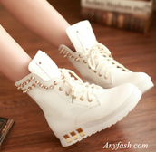 shoes,boots,martin boots,rivet shoes,metal shoes,rivet boots,winter boots,studs,combat boots,white,colorful,gold studs,cute,white work noots with syuds,whiteshoes,girls sneakers,the stylish wanderer,gold studded,wedge sneakers,white sneakers