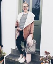 j for jen,blogger,top,jeans,cardigan,coat,scarf,bag,maternity,striped top,beige coat,slip dress,backpack,shearling jacket,shearling,camel shearling coat
