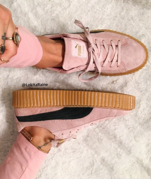 445815ded7e shoes girl girly girly wishlist puma puma creepers pink black cute tumblr puma  creepers rihana rihanna