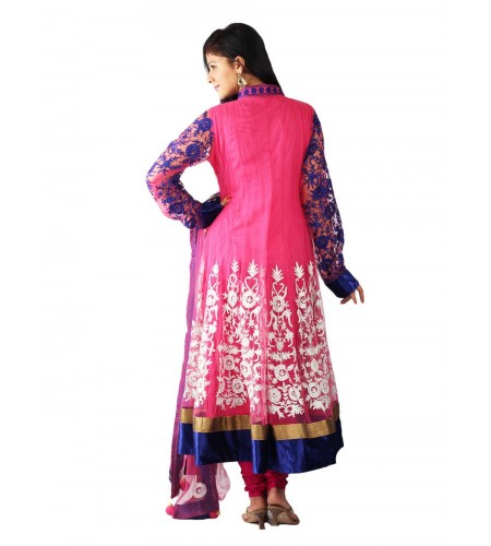 UPTOWNGALERIA Pink Anarkali Heavy Suit - Buy Pink Anarkali Suit Online