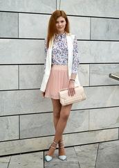 shoes,white and blue shirt,white vest,pink pleated skirt,light blue stilettos,blogger