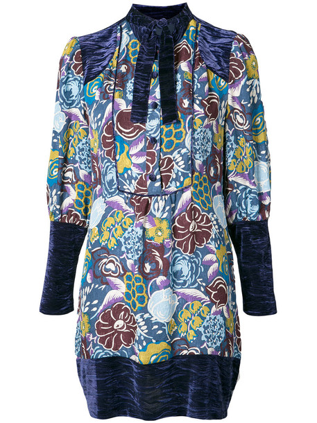 Anna Sui dress tunic dress women spandex blue silk