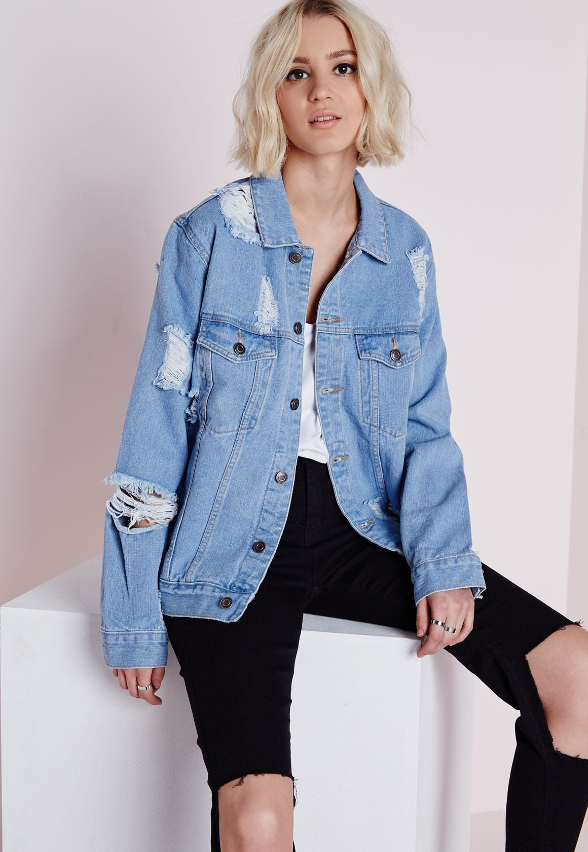 12ce7257aa6 Extreme Rip Oversized Denim Jacket - Denim Jacket - Coats and ...