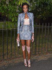 jacket,blazer,winnie harlow,mini skirt,skirt,sandals,clutch,model off-duty,bra