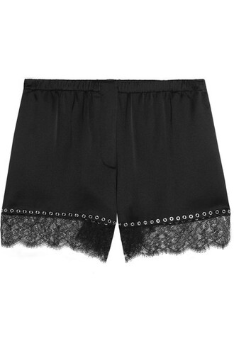 shorts embellished lace black silk satin
