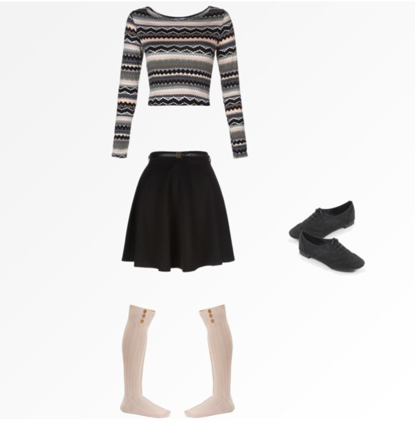 shirt knee high socks black oxford flats black skirt high waisted cute sweater crop tops cropped sweater skater skirt