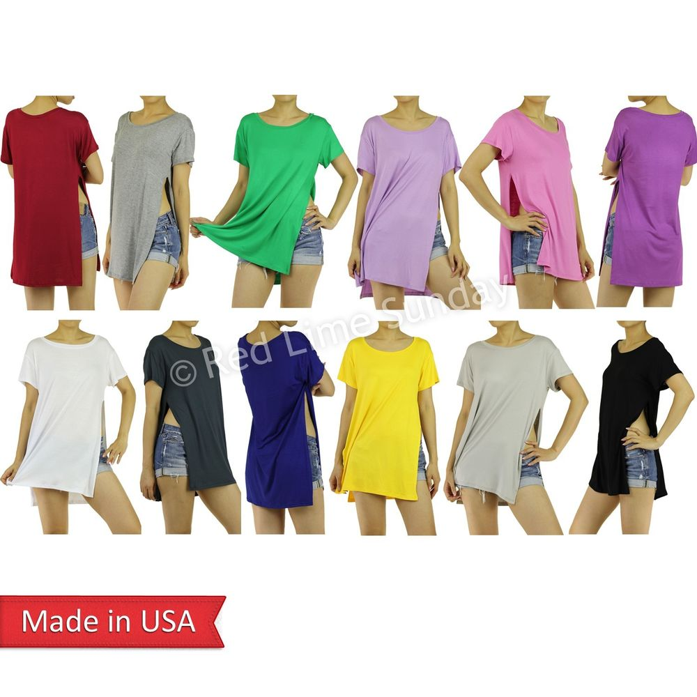 New Candy Color Double Split Slit Open Sides Short Sleeve Dress T Shirt Top USA