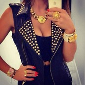 jacket,studs,leather,black,studded jacket,jewels,a fashion love affair,gold jewelry,gold ring