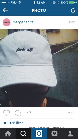 hat cap fuck off streetwear streetstyle snapback cute style instagram tumblr accessories white embroidered japan