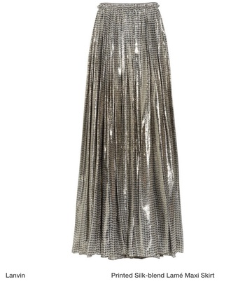 skirt metallic maxi skirt lanvin skirt lanvin