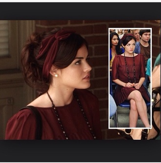 red dress red hair band aria montgomery pretty little liars shoes