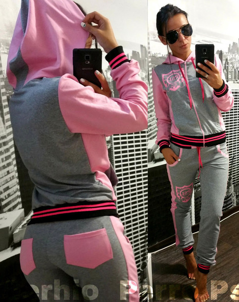 Jumpsuit: zefinka, pink sweatpants, pink sweatshirt, grey, pink ...