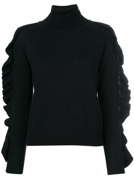 blouse women black wool top