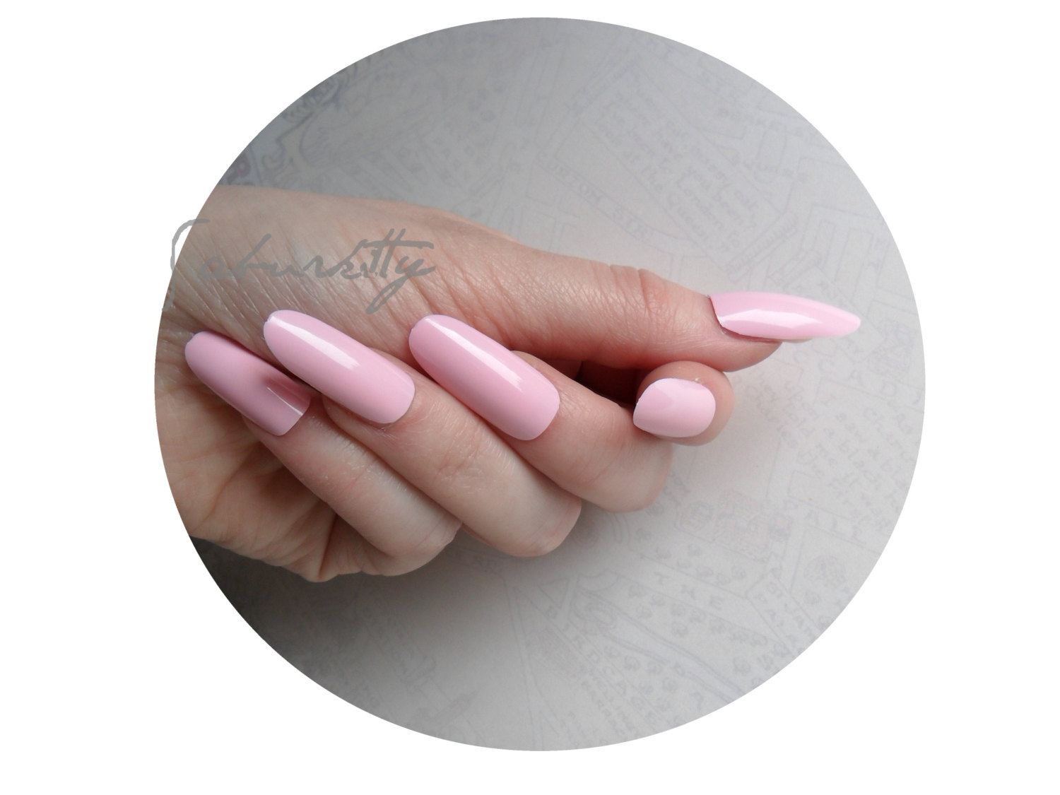 Pink Long Oval Style Nail Art Blanks w/ Nail Art PDF Tutorial DIY ...